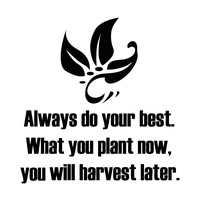 """Always do your best. What you plant now, you will harvest later."" Motivational Quote Wall Decal. #5354"