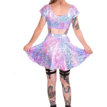 Hologram Set - Crop Top & Circle Skirt