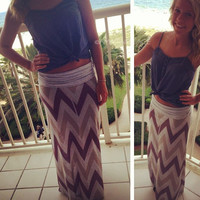 Bay Bay Tiki Hut Chevron Maxi Skirt