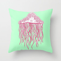 Mint Jellyfish Throw Pillow - Double Sided Throw Pillow - Faux Down Insert - Illustrated Pillow Cover