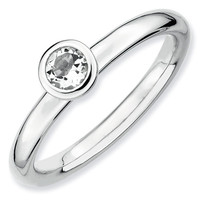 Round Low Profile 4mm White Topaz Stackable Ring