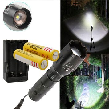 10000LM LED Focus Flashlight Zoom Torch Lamp + 2Pcs 18650 Batteries + US Charger
