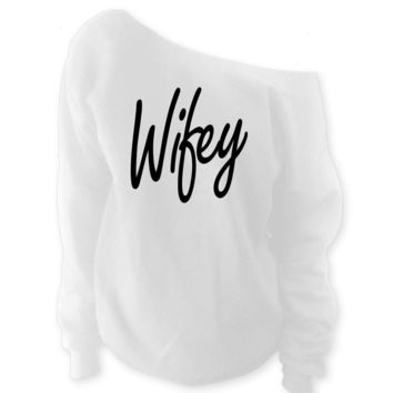 Wifey Off-The-Shoulder Oversized Wide Neck Slouchy Sweatshirt
