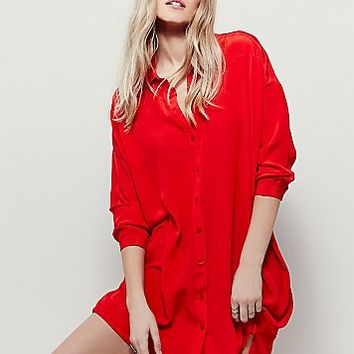 Free People Womens Silk Shirt Dress