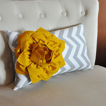 Decorative Lumbar Pillow Mustard Dahlia on Storm Gray and White Chevron Lumbar Pillow