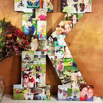 22 inch Custom Photo Collage, Letter Photo Collage, Personal Collage, Photo Collage, Personal Photos, Custom Photo Letters, Photos