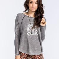 Billabong Rather Be Womens Thermal Tee Charcoal  In Sizes