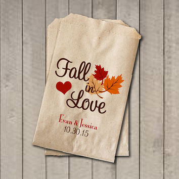 Wedding Favor Bags, Fall in Love Favor Bags, Personalized Wedding Candy Bags, Fall Wedding Candy Buffet Bags - Fall Colors