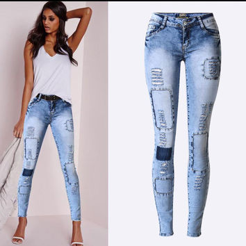 Patchwork Low Waist Ripped Skinny Long Jeans