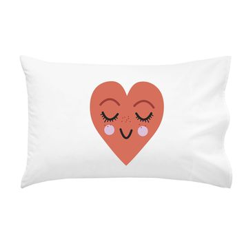 """Smiling Heart Pillowcase (One 20x30"""" Standard/Queen Size Pillow Case) Wedding Anniversary Gifts Birthday Presents"""