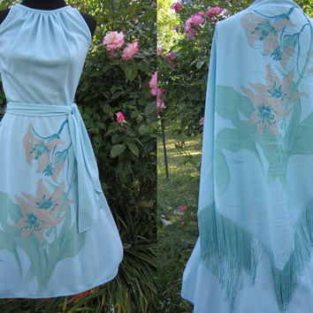 Alfred Shaheen Dress S / 70s Sundress with Shawl / Signed Shaheen 50s Style Dress