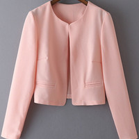 Pink Long Sleeve Cropped Coat