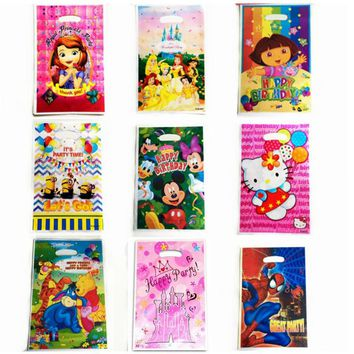 10pcs Cartoon Super Hero Princess Gift bags kids Birthday Party child Decoration Loot Bag / 14 options