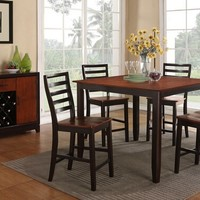 5 pc rich cherry and espresso finish wood counter height dining table set
