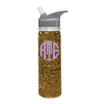 Monogrammed Glitter Water Bottle - Glitter Water Bottle - Sparkly Water Bottle - Monogrammed Water Bottle