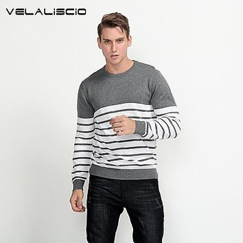 VELALISCIO Solid Color Pullover Men O Neck Sweater Men Long Sleeve Sweaters Cotton Casual Brand Cashmere Knitwear Size 3XL