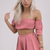 Own It Mauve Crop Top And Short Set