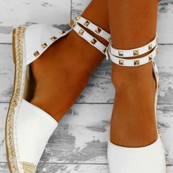 Dream Destination White Studded Espadrilles
