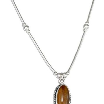 "Sterling Silver 16"" Liquid Silver With Oval Tiger Eye Necklace"