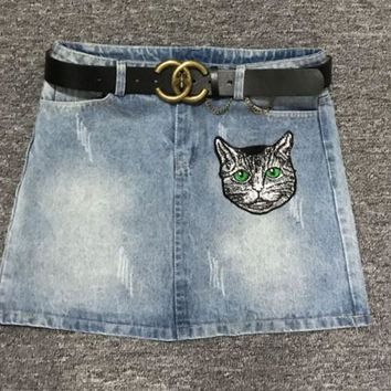 Gucci high end custom buttons, old letter printing, cat embroidery, water washed jeans, short skirts