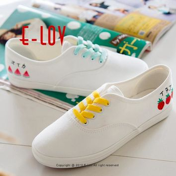 E-LOV Japanese Fresh Style Watermelon Pattern Women Hand-Painted Casual Shoes Painting Platform Shoes Canvas Shoes Personalized