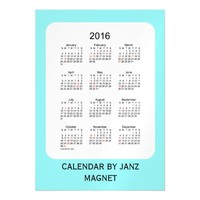 2016 Pale Turquoise Calendar by Janz 5x7 Magnet Magnetic Invitations
