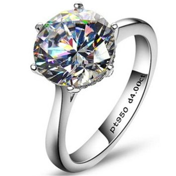 Rings Luxury 4 Carat NSCD Synthetic Simulated diamond 925 Sterling Silver