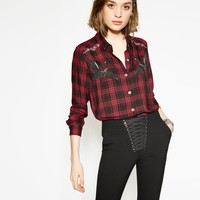 The Kooples Official Website - Red woven checked shirt with embroidered storks