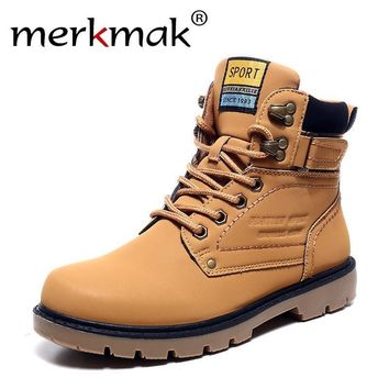 Mens Leather Winter Warm Work/Snow Boots