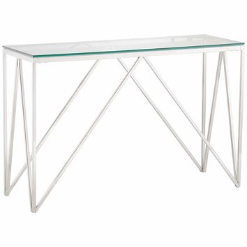 """Luxor 47 1/4"""" Wide Chrome and Glass Modern Console Table - #31C69 