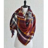 Barn Red Plaid Blanket Scarf Save 54%!