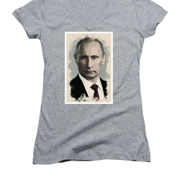 Watercolor Portrait Of President Of Russia, Vladimir Putin - Women's V-Neck T-Shirt