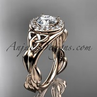 """14kt rose gold diamond celtic trinity knot wedding ring, engagement ring with a """"Forever Brilliant"""" Moissanite center stone CT7327"""
