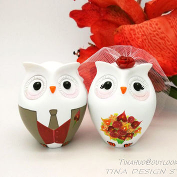 Owl Wedding Cake Toppers Fall Theme-Love Bird Wedding Cake Toppers With Burgundy Flowers