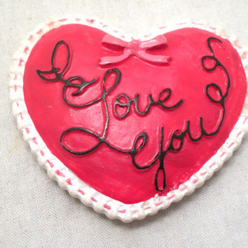 Valentines, Red, Heart, I Love You, Refrigerator, Magnet, Decor, Ceramic, Kitchen, Day, Sweetest, Sweetheart, Couple, Be Mine, Chic, Gift