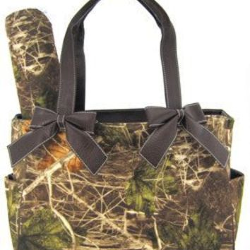 Brown Camo Camouflage Tote Purse Diaper Bag with Soft Velvety Feel