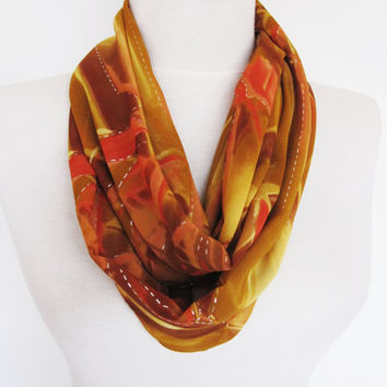 Infinity Silvery Chiffon Scarf, Circle Scarf, Brown - Beige - Orange, Mothers Day Gift