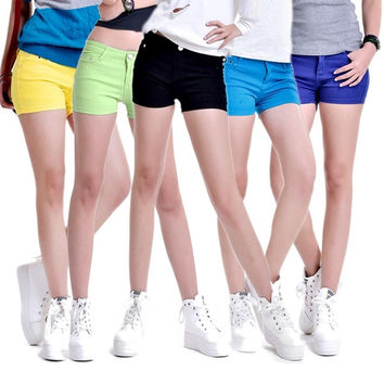 Women Candy-colored Skinny Casual Stretch Jean Denim Shorts Pants = 1929586244