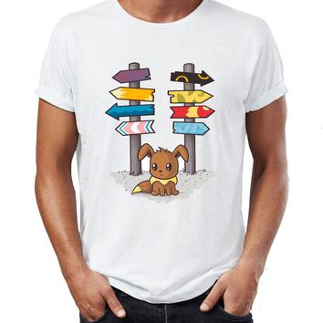 Men's T Shirt Pokemon Eevee Which Way To Go Awesome Artwork Printed Tee