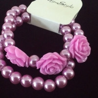 glass pastel lilac purple opalescent metallic pearl layered resin rose flower bracelet stretch 2 piece set Betsey Johnson inspired style