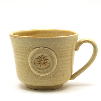 Flower Coffee Mug:  Cream Ceramic Daisy Mug,  Unique Handmade Pottery Gift for Her by MiriHardyPottery
