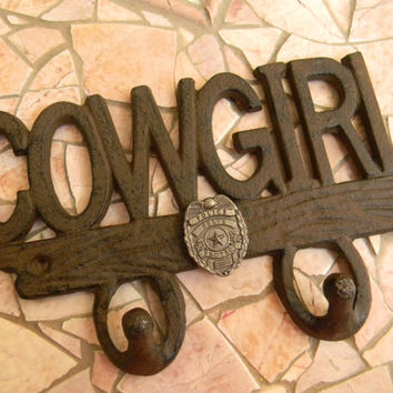 Cast Iron Police Officer Double Wall Hook, Western Cowgirl, Police Decor, Girls Room Decor, Home Decor, Policeman Gifts, Law Enforement