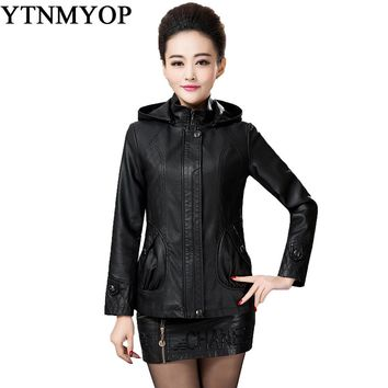 Autumn And Winter Women Leather Jacket Black Female Clothing Outerwear Hooded Casual Leather Coat 2017 New Fashion Plus Suede