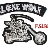 Lone Wolf Grim Reaper writing motorcycle Iron on Patch for Biker Vest FS182-3