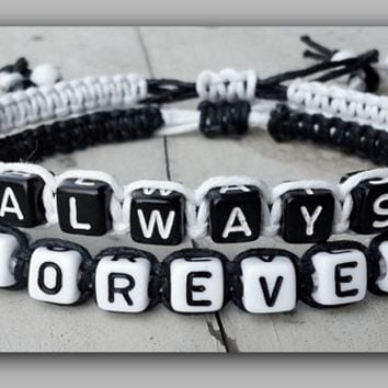 "Couples Bracelets "" Always Forever "" Bracelet His and Hers Boyfriend Girlfriend ( Black / White )  ""FREE SHIPPING"""