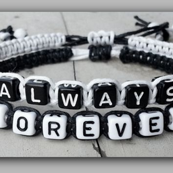 "Couples Bracelets "" Always Forever "" Bracelet His and Hers Boyfriend Girlfriend ( Black / White )"