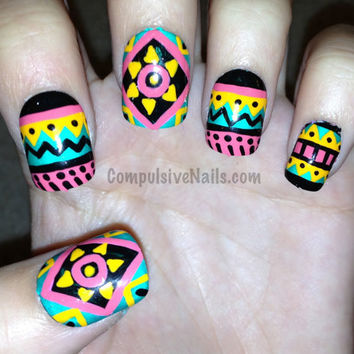 Tribal/aztec sun fake nails by CompulsiveNails on Etsy