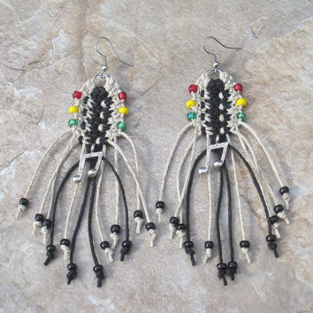 Black and Natural Cord Rasta Hemp Beaded Earrings