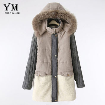 YuooMuoo High Quality Natural Fur Collar Winter Coat Women Warm Parkas Wool Patchwork Jacket Plus Size Parkas for Women Winter