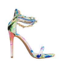 Jewel & Chain Ankle Strap Open Toe Blue Floral Print Heeled Sandals